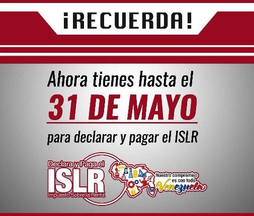 Seniat: hasta el 31 de mayo hay chance de pagar el ISLR